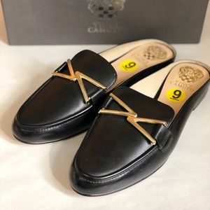 Vince Camuto Black leather slide loafers Sz 9 NEW